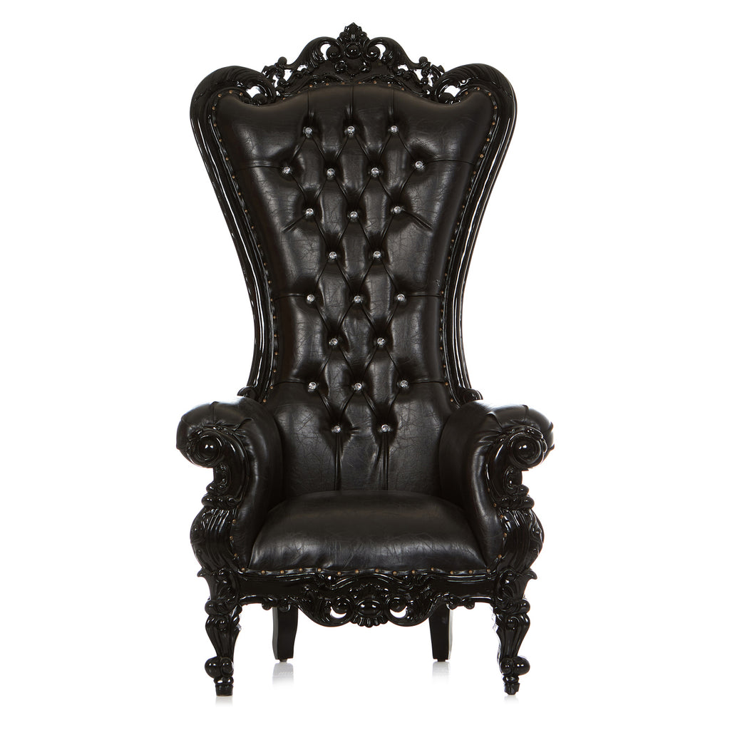 """Queen Tiffany"" Throne Chair - Black / Black"