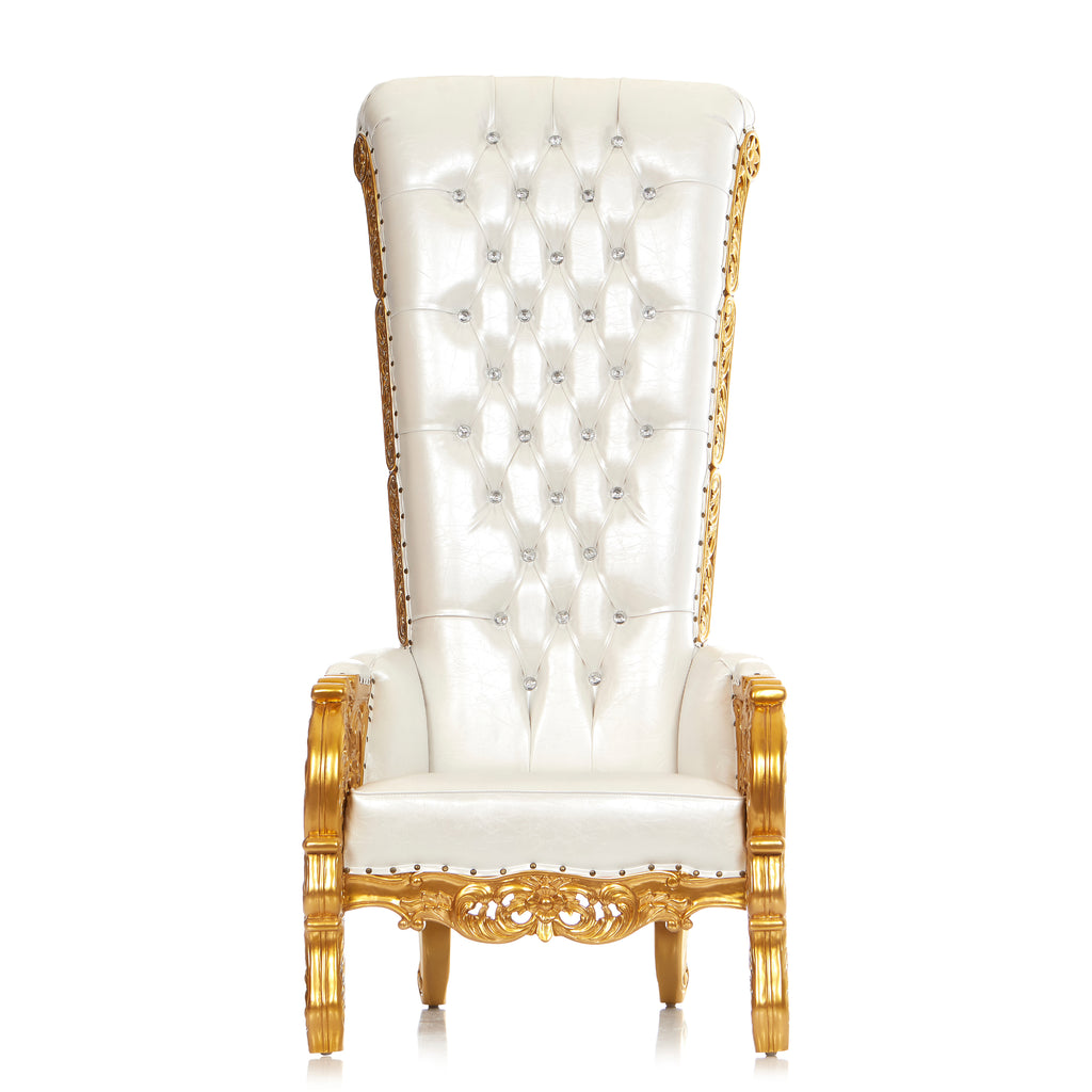 """Queen of Sheba"" Throne Chair - White / Gold"