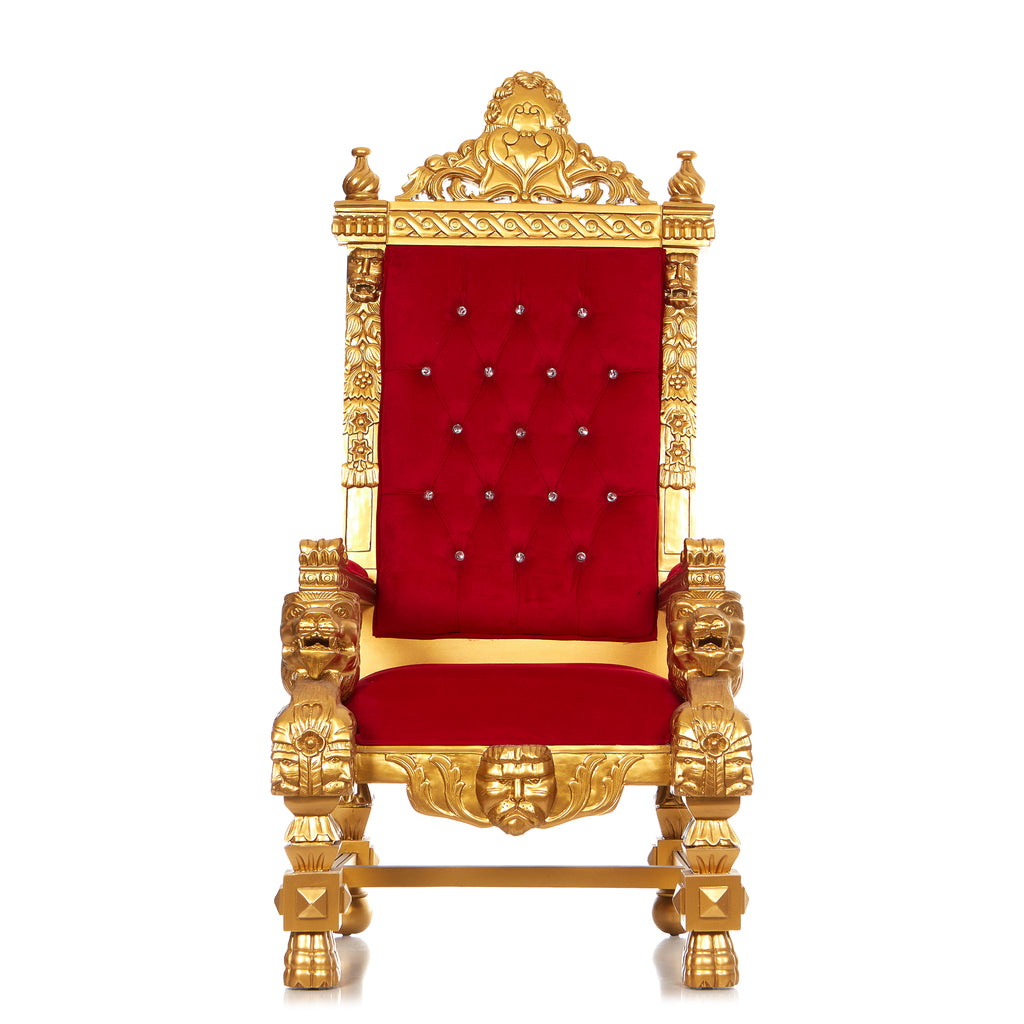 """King Samuel 68"" Throne Chair - Red / Gold"