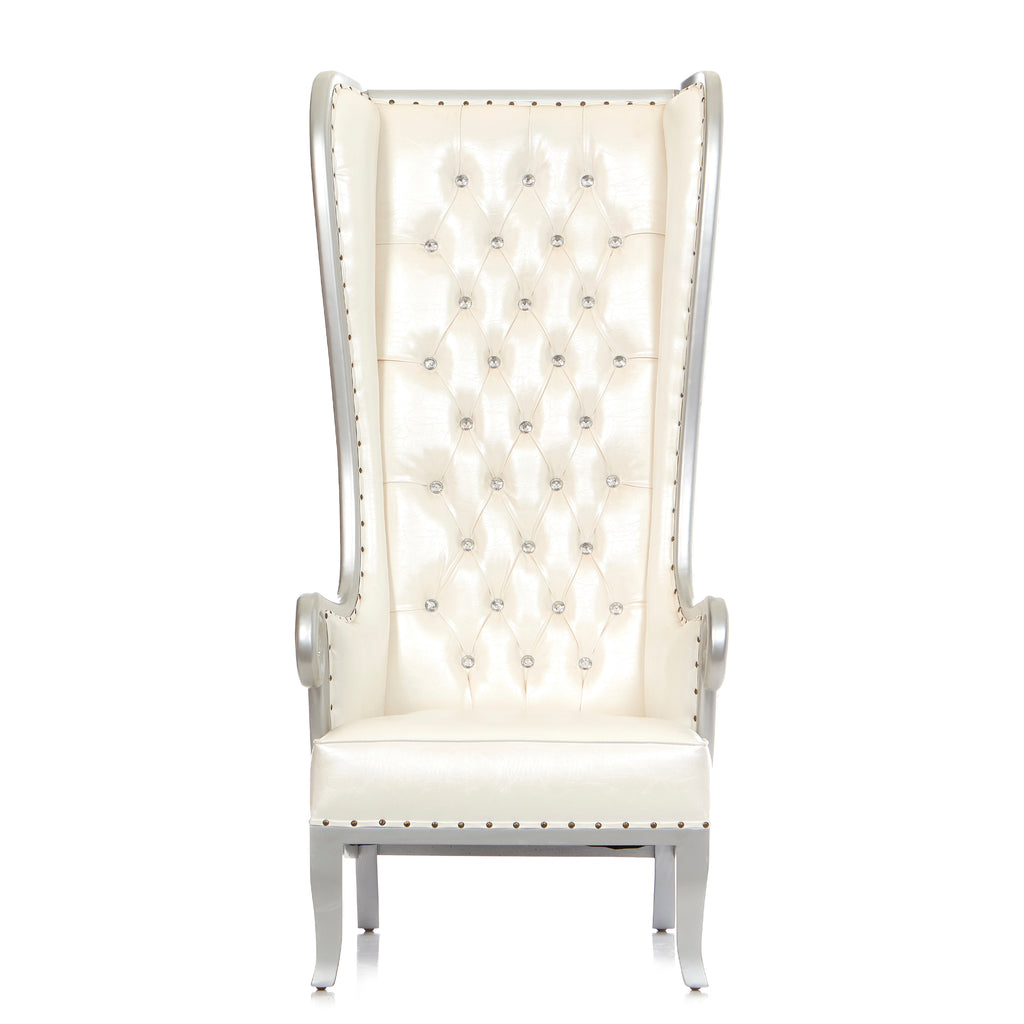 """Wing Back"" Party Throne Chair - White / Silver"