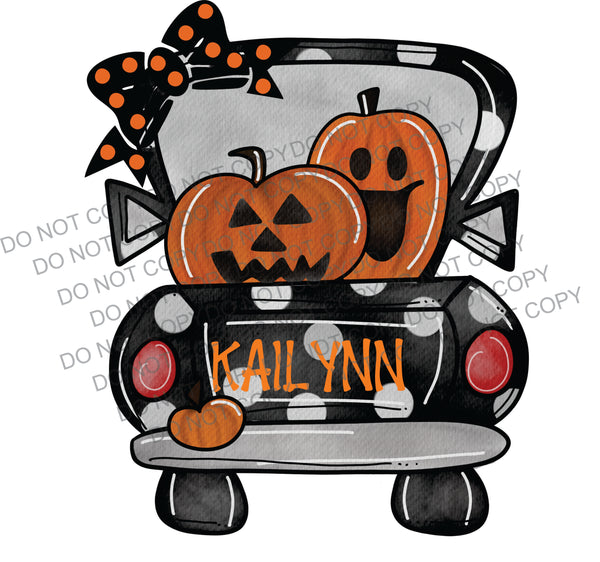 Polka Dot Halloween Truck WITH Bow