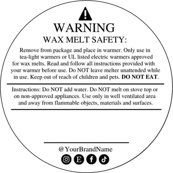 Wax Melt Warning Stickers