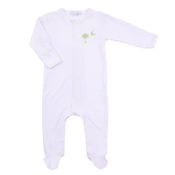 Essentials Celery Palmetto Baby Embroidered Footie