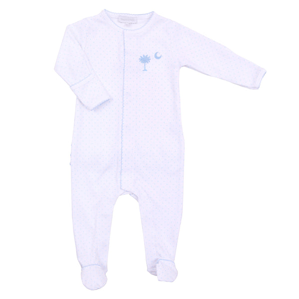 Essentials Blue Palmetto Baby Embroidered Footie