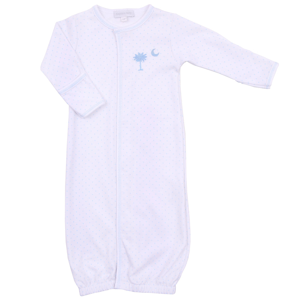 Essentials Blue Palmetto Baby Embroidered Converter Gown