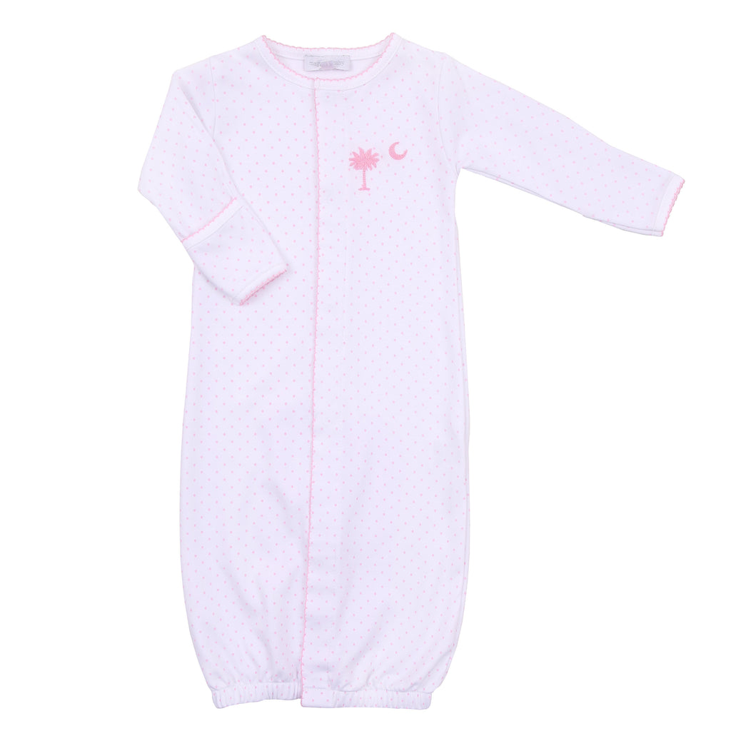 Essentials Pink Palmetto Baby Embroidered Converter Gown