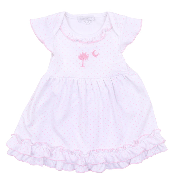 Essentials Pink Palmetto Baby Embroidered Dress Set