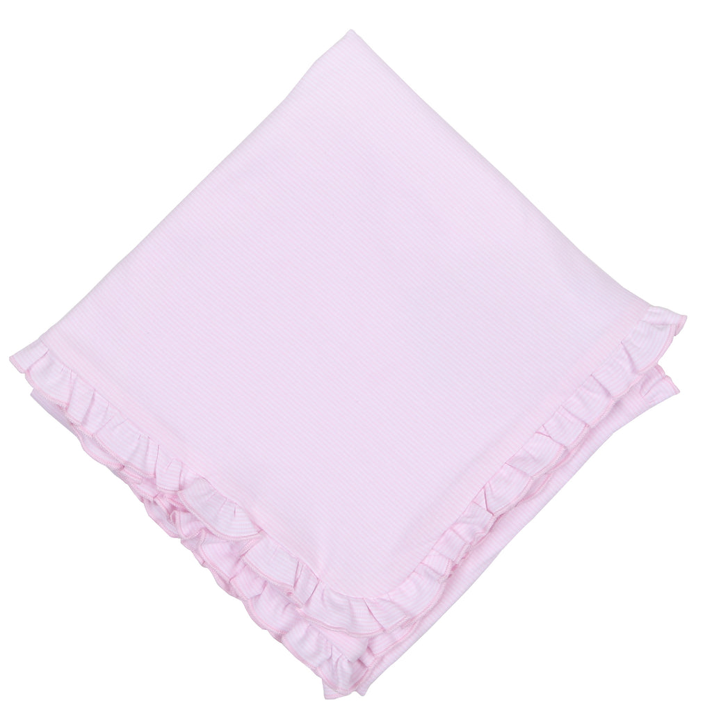 Essentials Pink Mini Stripe Essentials Ruffle Blanket