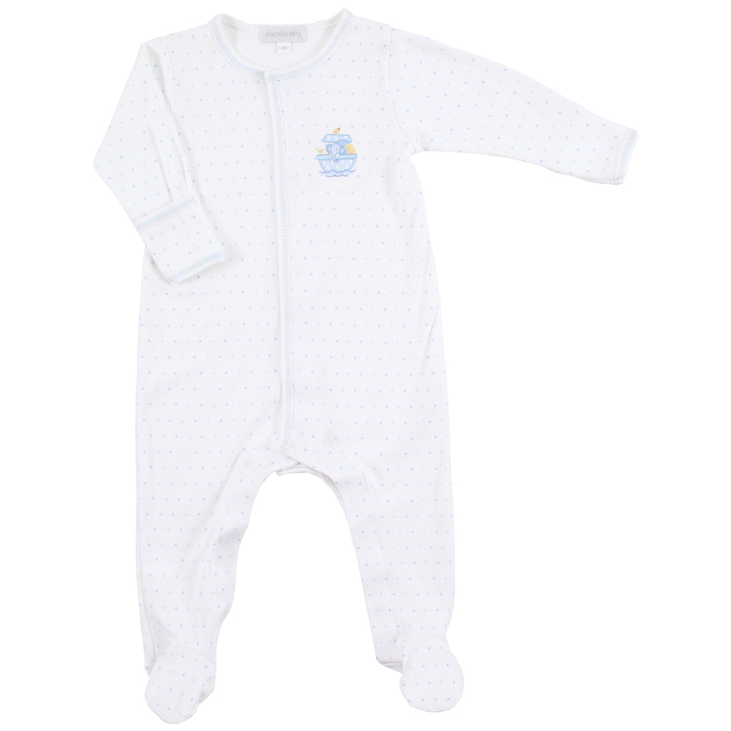 Essentials Blue Noah's Friends Embroidered Footie
