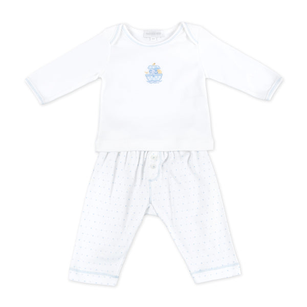 Essentials Blue Noah's Friends Embroidered 2pc Pant Set