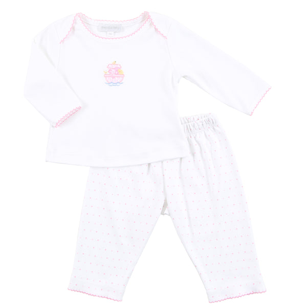Essentials Pink Noah's Friends Embroidered 2pc Pant Set