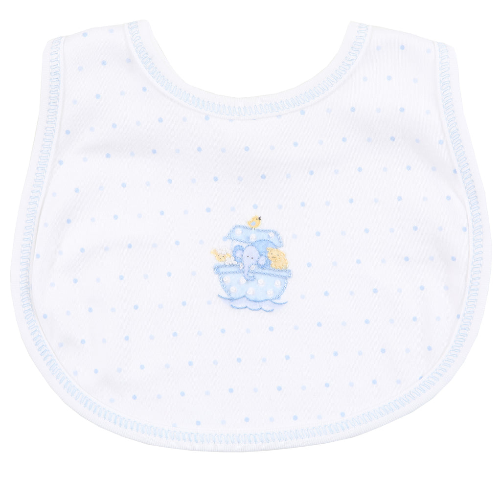 Essentials Blue Noah's Friends Embroidered Bib