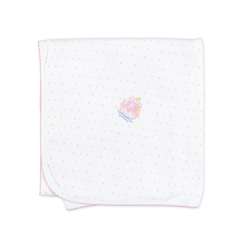 Essentials Pink Noah's Friends Embroidered Blanket