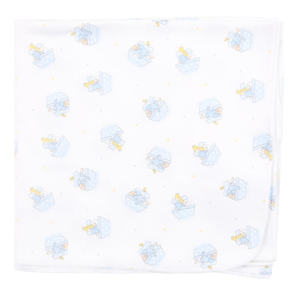 Essentials Blue Noah's Friends Printed Swaddle