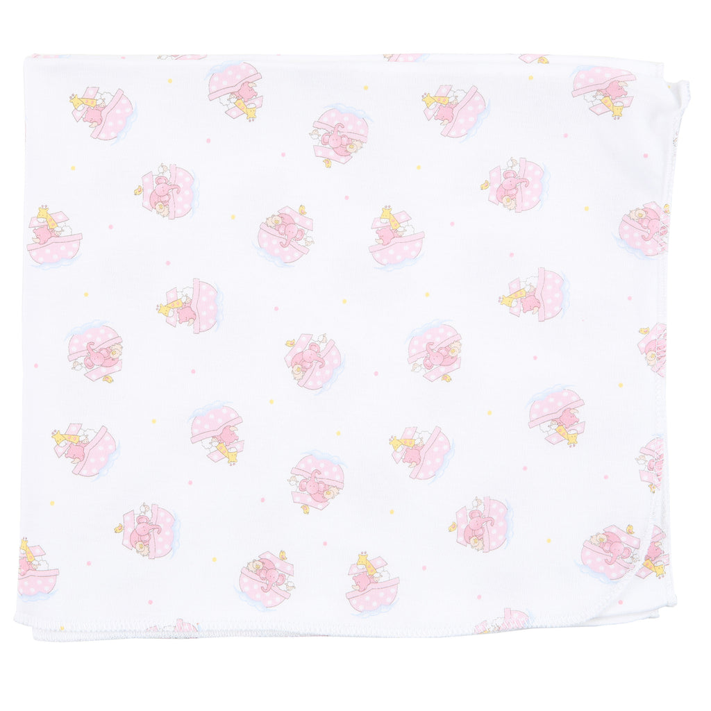 Essentials Pink Noah's Friends Printed Swaddle