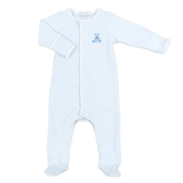 Essentials Blue Baby's Teddy Embroidered Footie