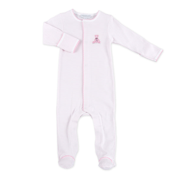 Essentials Pink Baby's Teddy Embroidered Footie