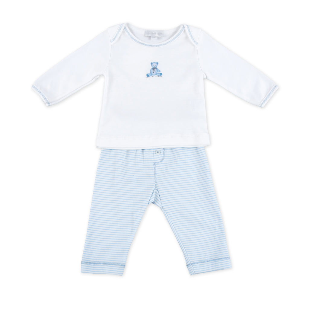 Essentials Blue Baby's Teddy Embroidered 2pc Pant Set