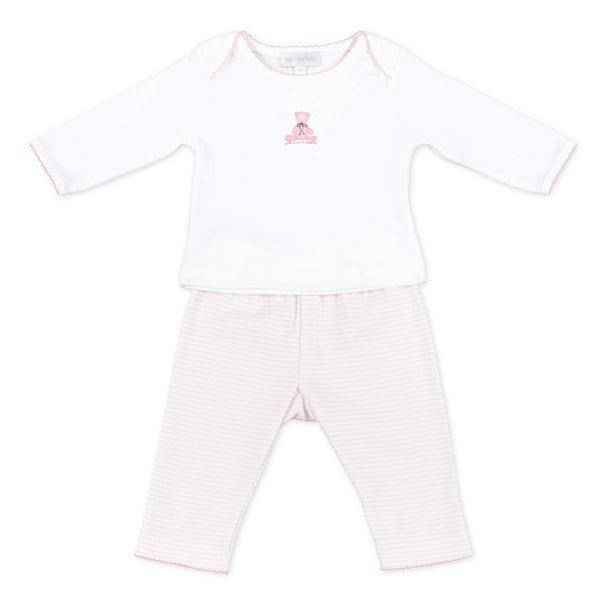 Essentials Pink Baby's Teddy Embroidered 2pc Pant Set