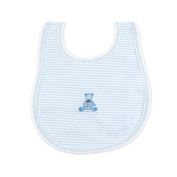 Essentials Blue Baby's Teddy Embroidered Bib