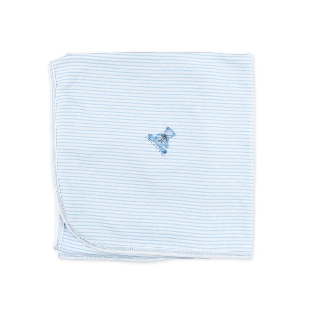 Essentials Blue Baby's Teddy Embroidered Blanket