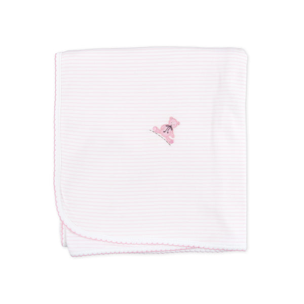 Essentials Pink Baby's Teddy Embroidered Blanket