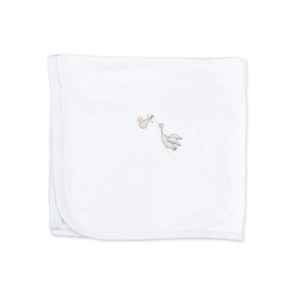 Essentials White Worth the Wait Embroidered Receiving Blanket