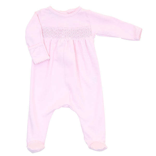 Essentials Solid Pink Smocked Footie