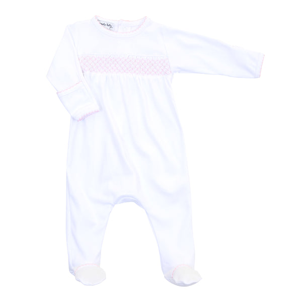 Essentials White w/Pink Smocked Footie