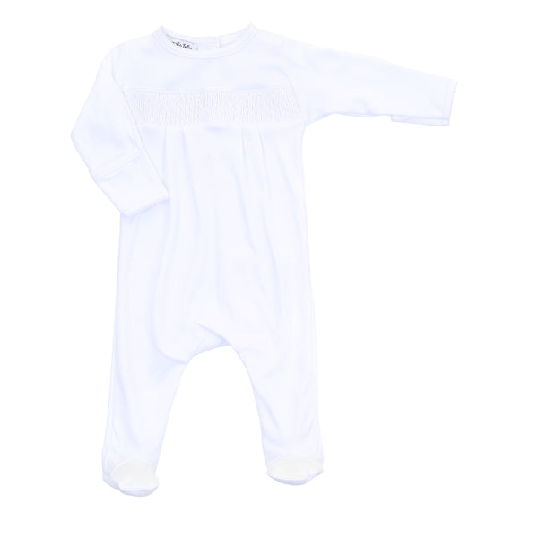 Essentials White Smocked Footie