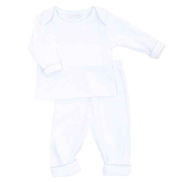 Essentials White w/Blue 2pc Loungewear