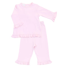 Essentials Solid Pink Ruffle 2pc Pant Set