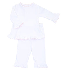 Essentials White w/Pink Ruffle 2pc Pant Set
