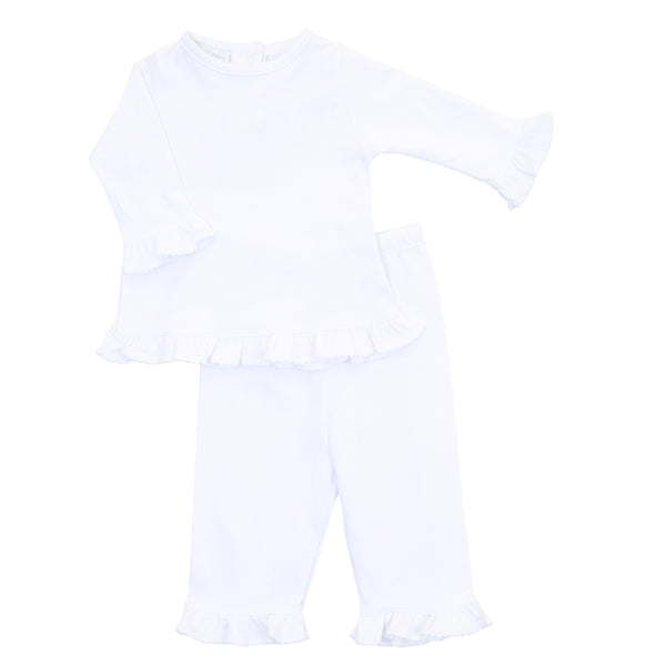 Essentials White Ruffle 2pc Pant Set
