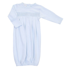 Essentials Solid Blue Smocked Gown