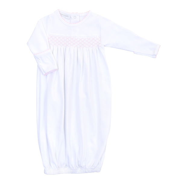 Essentials White w/Pink Smocked Gown