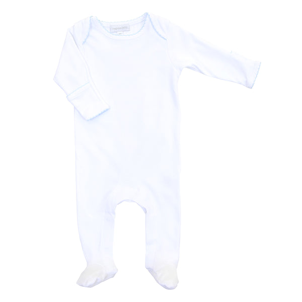 Essentials White w/Blue Lap Footie