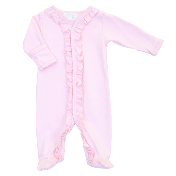 Essentials Solid Pink Ruffle Footie