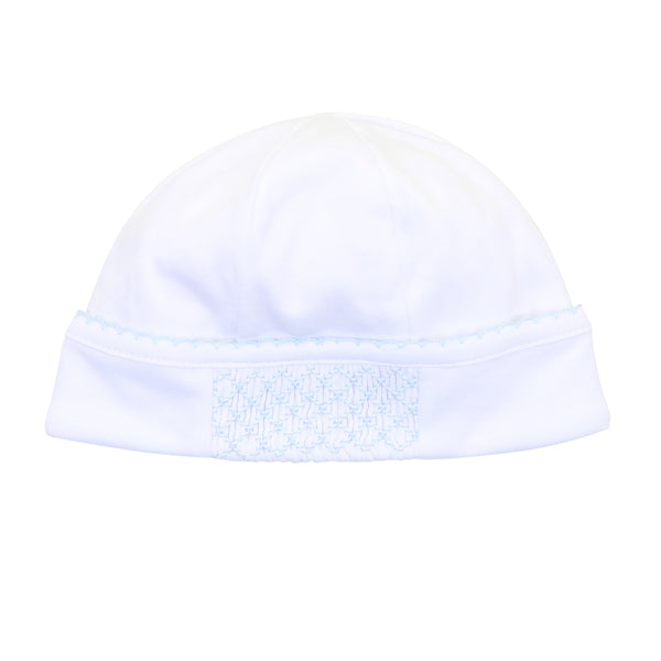 Essentials White w/Blue Smocked Hat