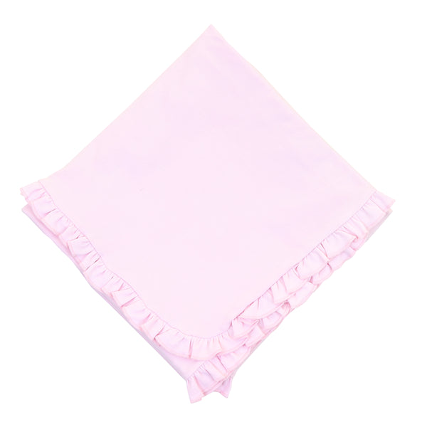 Essentials Solid Pink Ruffle Blanket