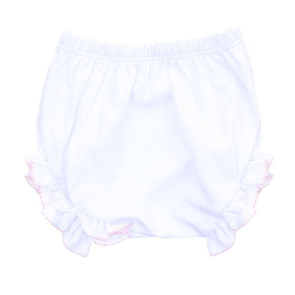 Essentials White w/Pink Monogram Diaper Cover