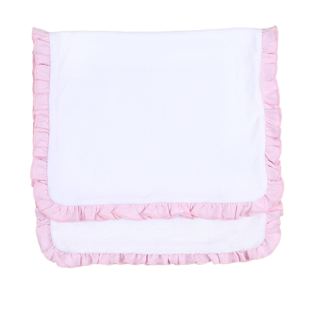 Solid Essentials White Pink Ruffle Burp Cloth