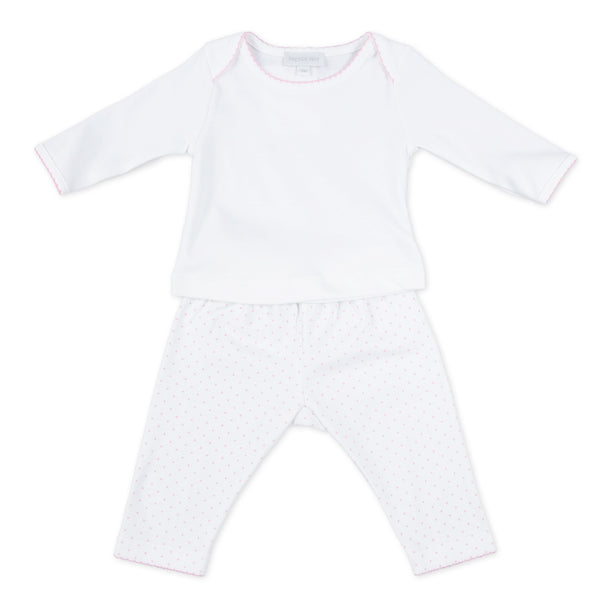 Essentials Pink Mini Dot 2pc Pant Set
