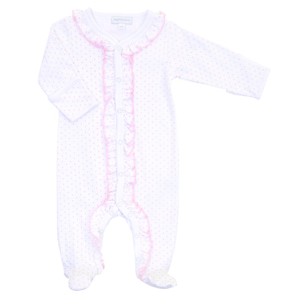 Essentials Pink Mini Dot Ruffle Footie