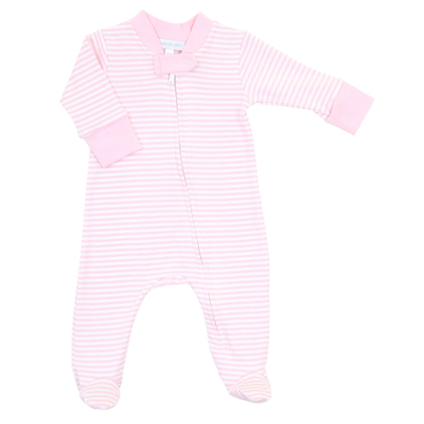 Striped Essentials Pink Zipped Footie