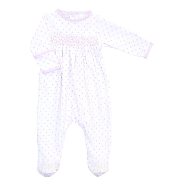 Essentials Pink Gingham Dots Smocked Footie