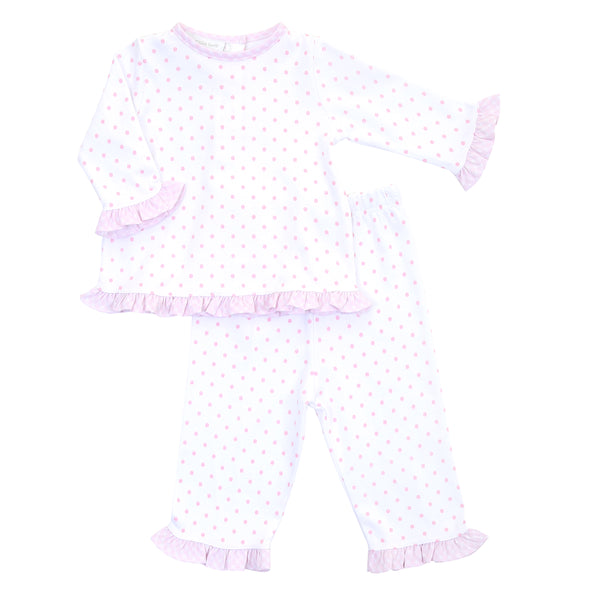 Essentials Pink Gingham Dots Ruffle 2pc Pant Set