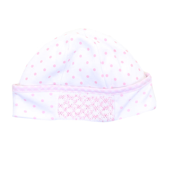 Essentials Pink Gingham Dots Smocked Hat