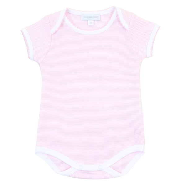 Essentials Pink Mini Stripe S/S Bodysuit