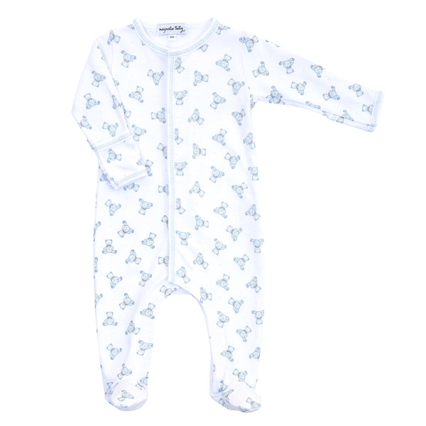 Essentials Blue Baby's Teddy Printed Footie